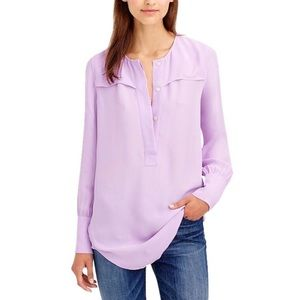 J. Crew Covered Button Crepe Long Blouse Lavender
